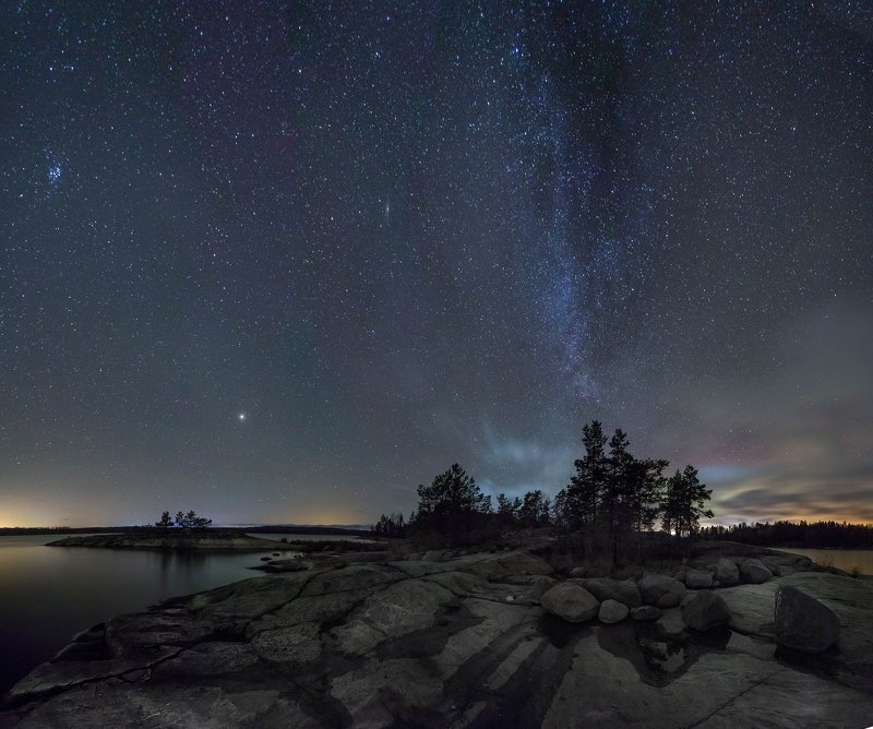 ладога, осень, шхеры, ночь, звезды, млечный путь, карелия, ночная фотография Осень, Ладога, Космосphoto preview
