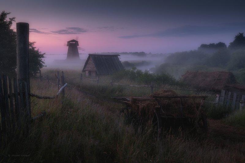 пейзаж,утро,рассвет,деревня,мельница Перед рассветом...photo preview