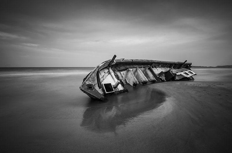 old, boat, sri, lanka, long, exposure, black, white Old boat...photo preview