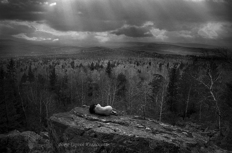 сергей коляскин, зарождение, свет, лучи, человек, горы ЗаРождениеphoto preview