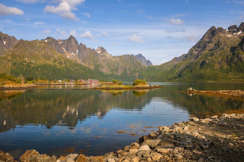 лофотены, норвегия, горы, озеро, домики, небо, облака, Жизнь на Лофотенах.photo preview