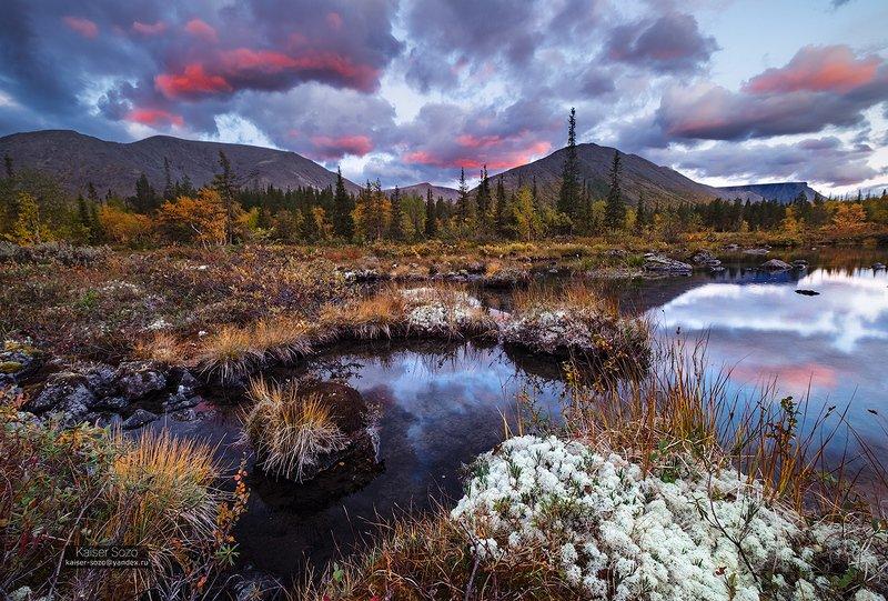 хибины, полярный круг, горы, отражение, закат, облака, мох, золотая осень Разрумянившиеся от бега облакаphoto preview