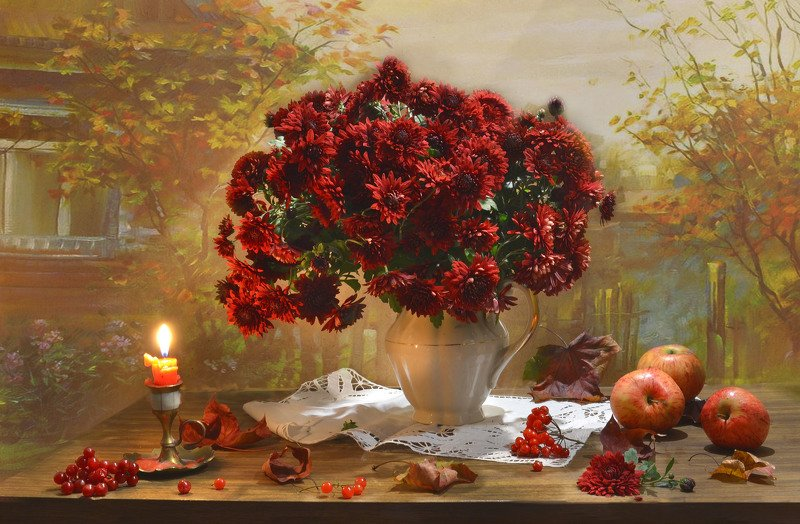 still life, натюрморт, фото натюрморт, осень, октябрь, кленовые листья, свеча, подсвечник, калина, настроение, хризантемы, яблоки ...еще одно прикосновение...photo preview