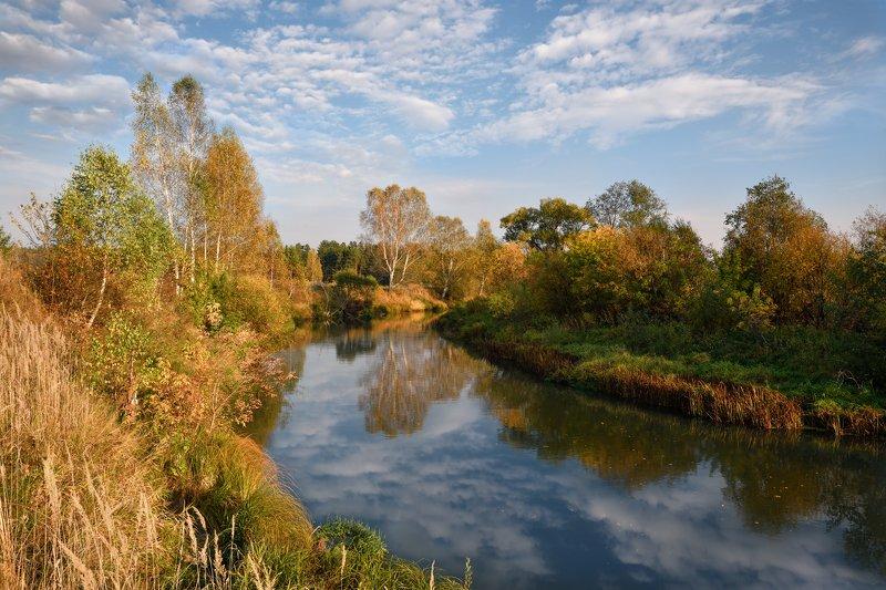 осень,река,небо,облака,краски,отражени,берег,лес,берёзы осенний пейзажphoto preview