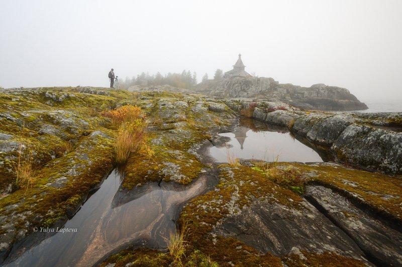 карелия золотая осень,ладожское озеро,о.эсусаарет,туман,утро \
