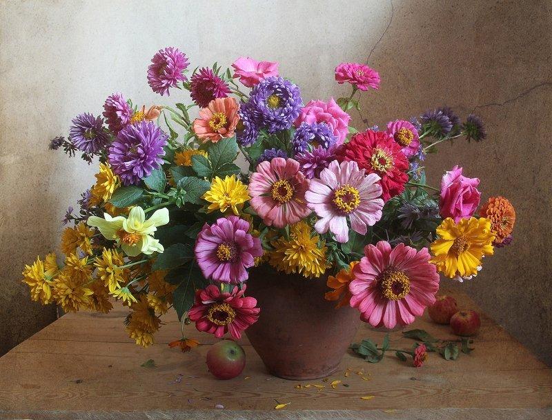 лето,  цветы, розы,натюрморт, марина филатова Моей любви осенние цветыphoto preview