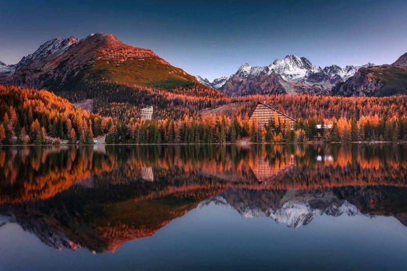 #sunrise #tatramountain #mountains #landscape #autumn Strebské Pleso during sunrise.photo preview