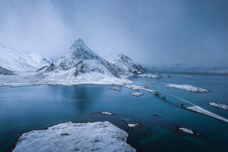 norway, lofoten, drone, above, mavic2, dji, mavic2pro, water, winter Синее безмолвиеphoto preview