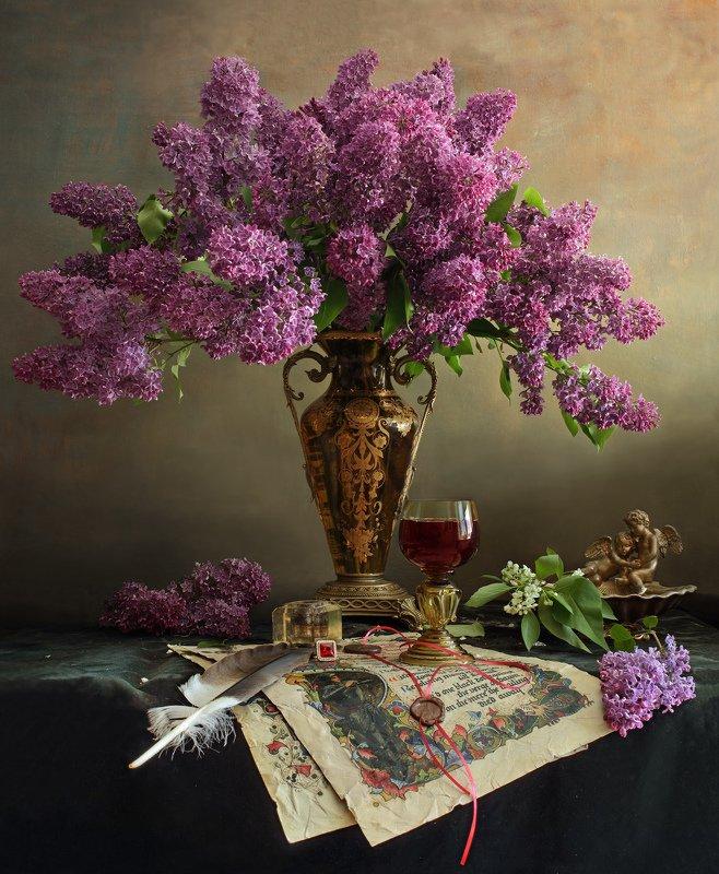 сирень, цветы, букет, ваза, весна Натюрморт с цветамиphoto preview