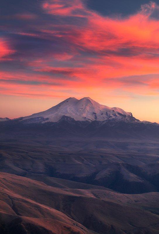 эльбрус, кавказ, закат, гора, природа, elbrus, mountain Эльбрусphoto preview