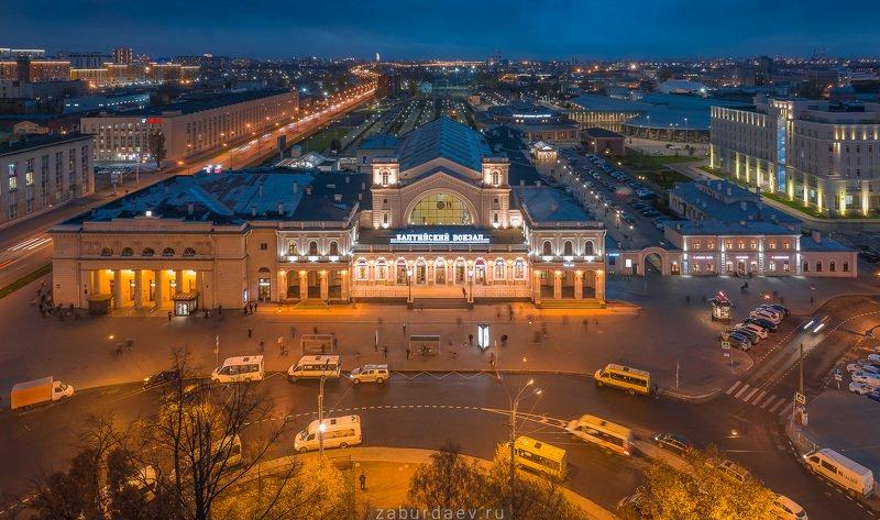 россия, вокзал, осень, вечер, дрон, петербург Балтийский вокзал фото превью