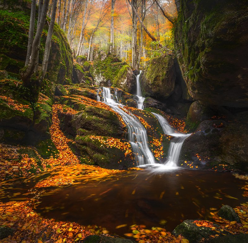 landscape nature scenery forest wood autumn waterfall river mountain staraplanina bulgaria осень лес Fallphoto preview