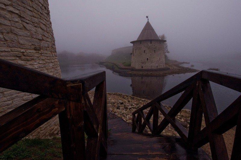 город, псков, туман, крепостные стены,набережная, река, городской пейзаж, Туманное ноябрьское утро.photo preview