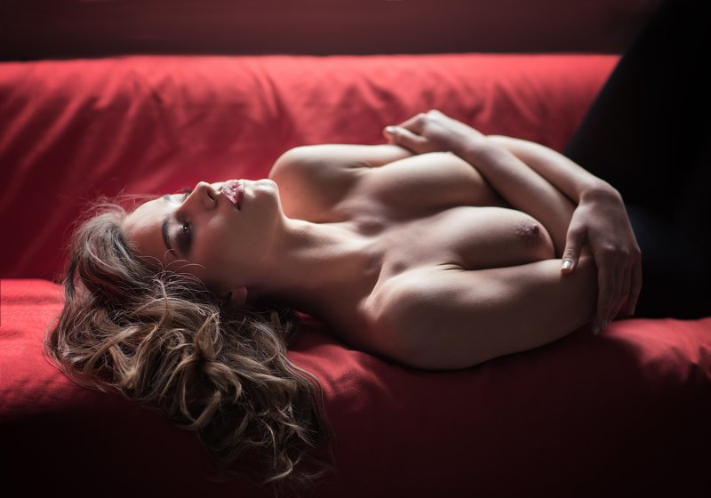 red, sofa, nude, girl, beautiful,  On the red sofaphoto preview