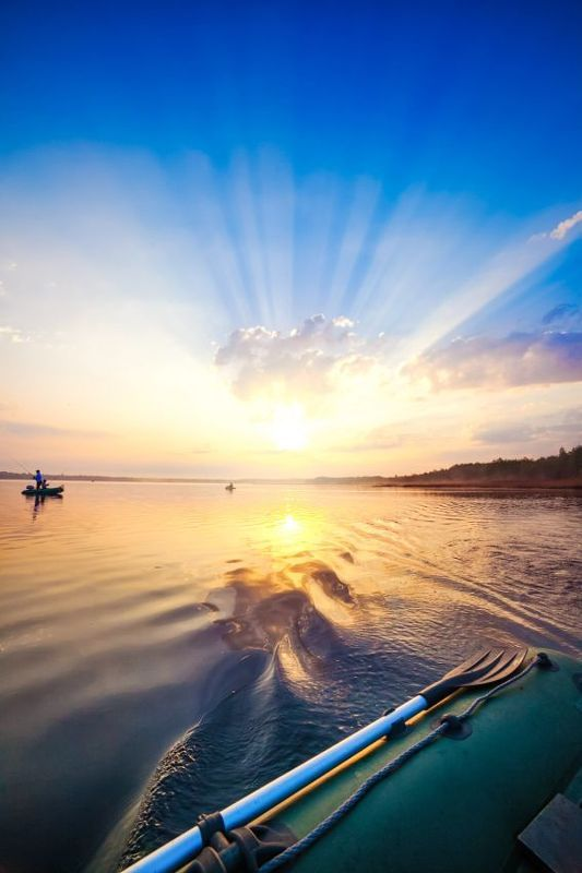 fishing, sun, water, boat, lake, sunlight, lithuania Good morning!photo preview