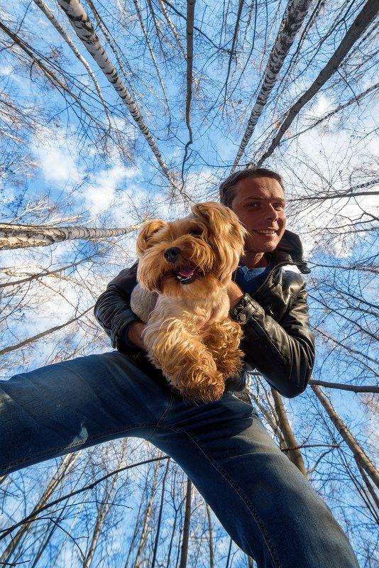селфи, я, йорк, собака, лес, осень Чарлиphoto preview