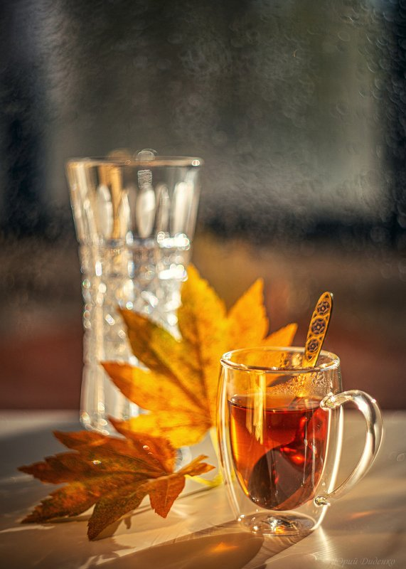 чай, осень, осенние листья, ваза, чашка, натюрморт Осенний чайphoto preview
