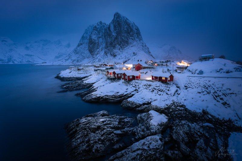 norway, lofoten, norge, norvegian, hamnoy, winter, landscape, outdoor, morning, blue hour Пробуждениеphoto preview