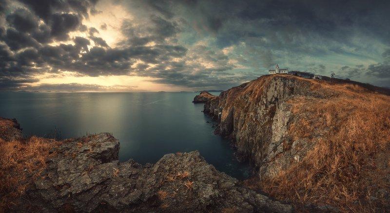 панорама, утро, скалы, море, маяк ***photo preview