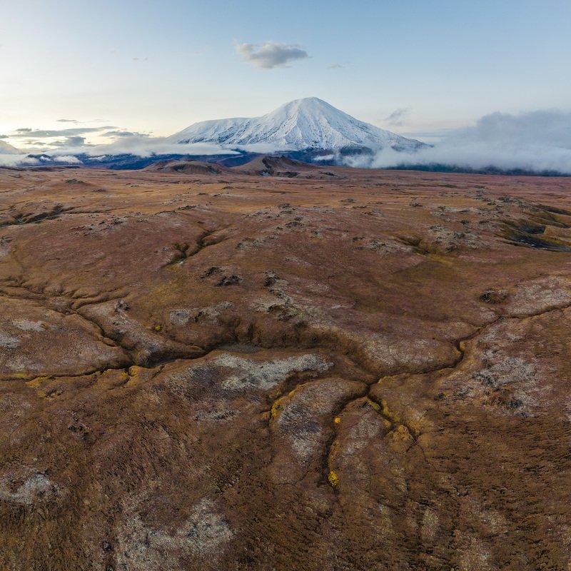 камчатка, вулкан, пейзаж, природа, россия, дальний восток, тундра, панорама, фото с дрона, kamchatka, volcano, landscape, nature, russia, far east, tundra, panorama, drone photo Камчатское утроphoto preview