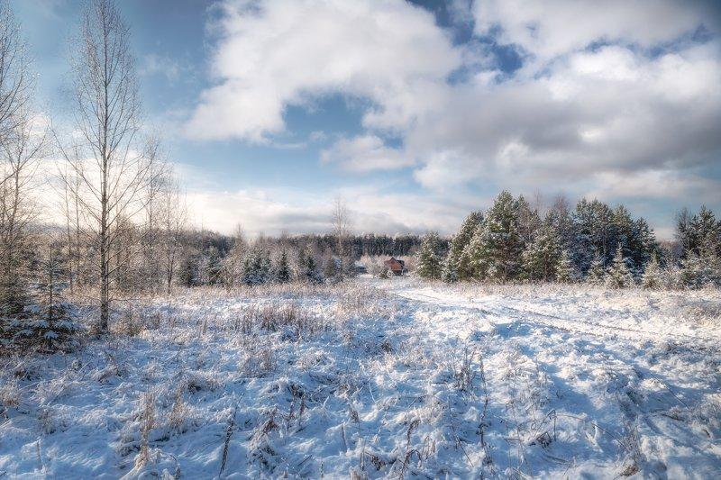 утро,снег,лес,деревня снегphoto preview