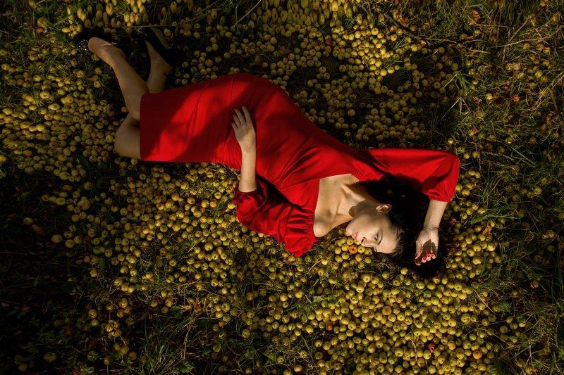 Портрет в красном на яблокахphoto preview