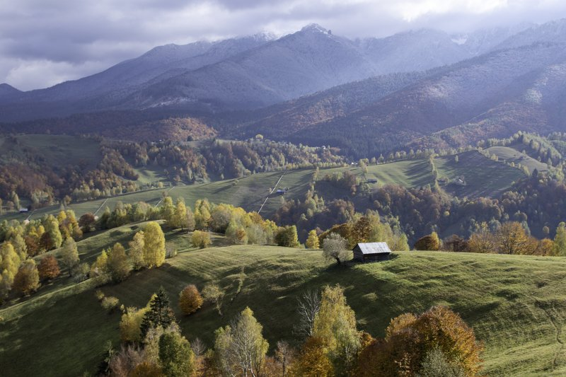 autumn, winter, colors, house, countryside, rural Between seasonsphoto preview