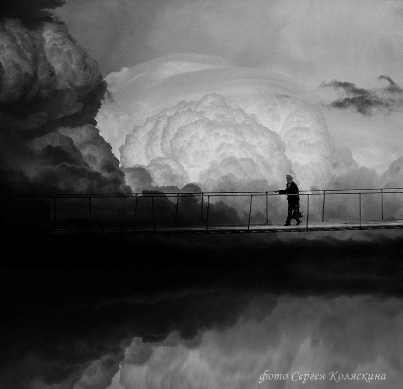 сергей коляскин, переход, мост, старушка, облака Переходphoto preview