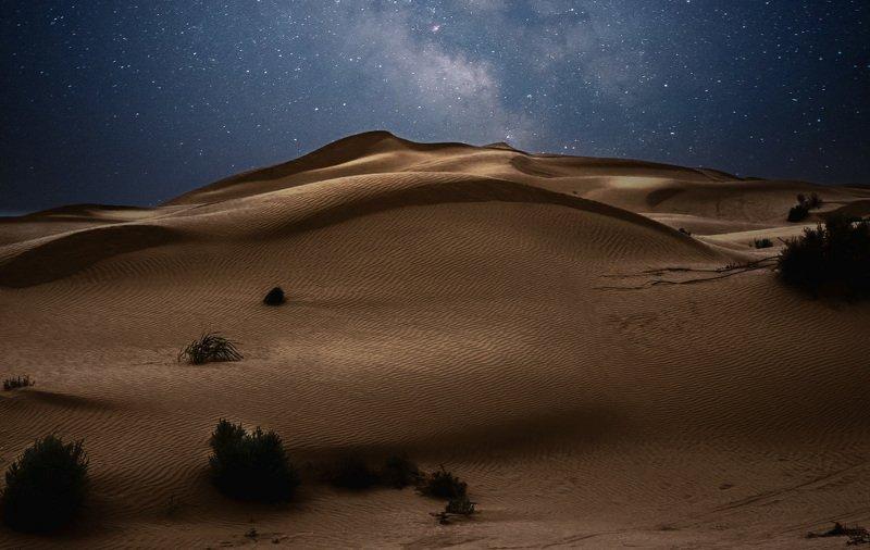 бархан, ночь, звёзды, млечный путь, природа, пейзаж, Ночной барханphoto preview