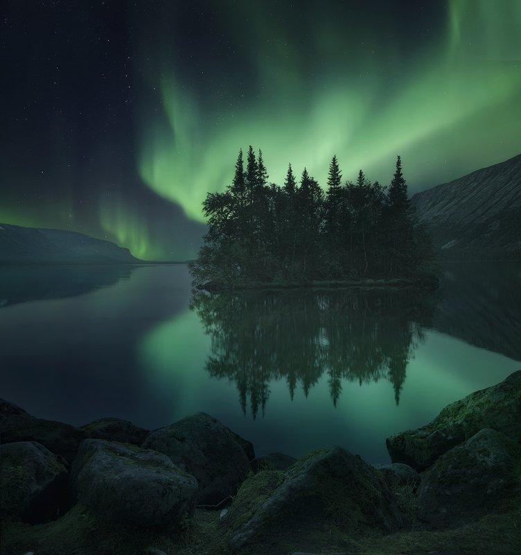 aurora borealis, северное  сияние, полярное сияние, кольский  полуостров, сейдозеро Seydozerophoto preview
