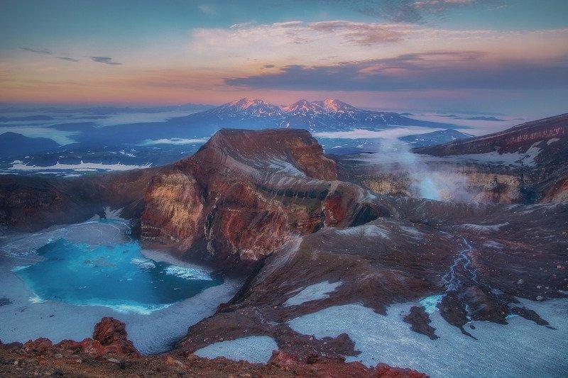 камчатка,горелый,рассвет,вулкан спящий драконphoto preview