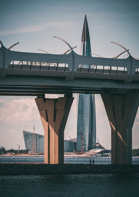 нева, россия, спб, лахта, мост, река future of the cityphoto preview