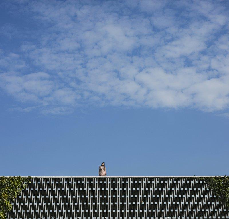 небо,девушка,архитектура texture photo preview