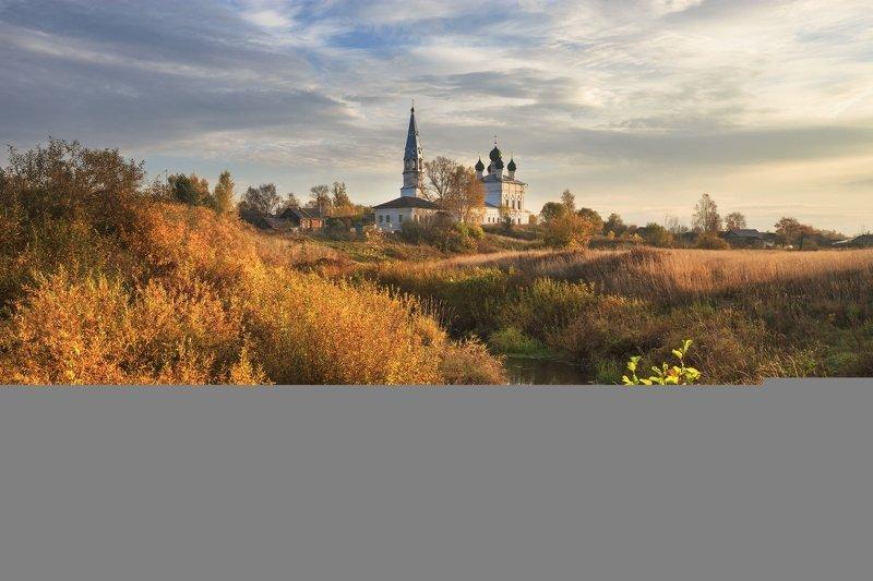 россия, 2020, осень, храм, река, октябрь, небо, отражение, чапыжник, кусты, село, глубинка, осенево, лахость, пейзаж Осень в Осеневоphoto preview