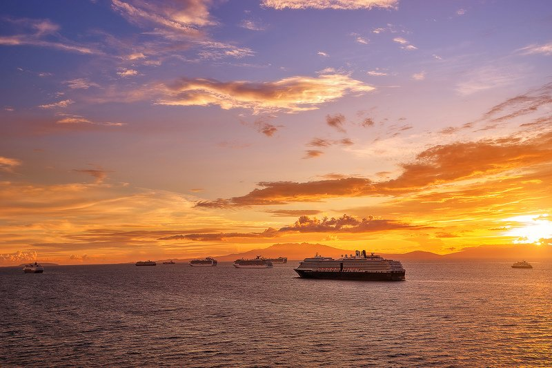 sea sunset sky cruise ships princess cruise trip tourism cruise photo preview