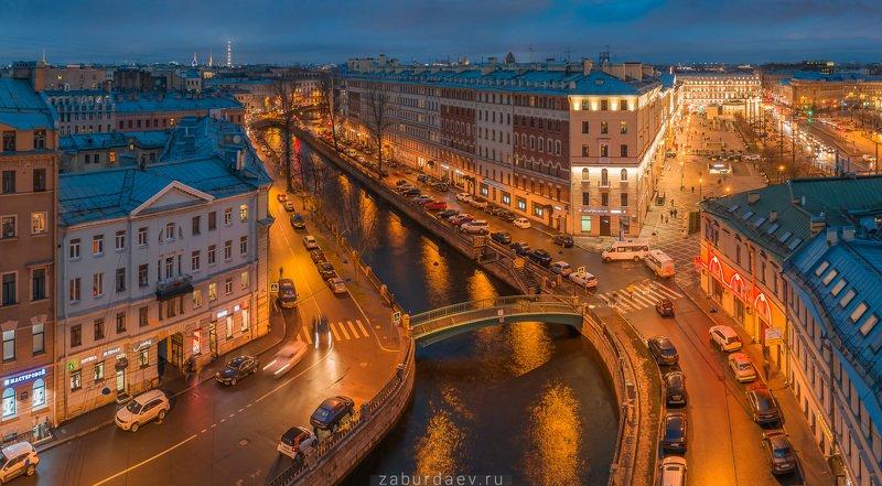россия, петербург, вечер, осень, канал, река, мост, дрон Канал Грибоедова фото превью