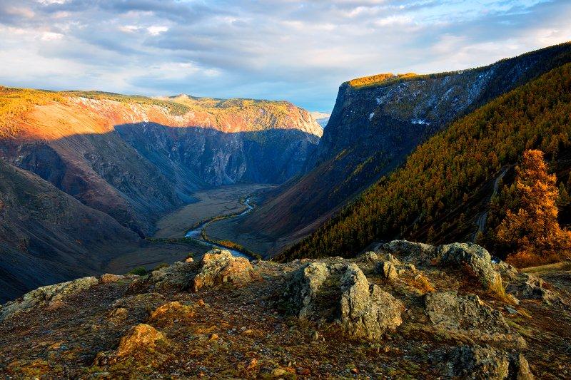 горный алтай, перевал, кату-ярык, река, чулышман, ущелье, вечер Вечер в долине Чулышманаphoto preview