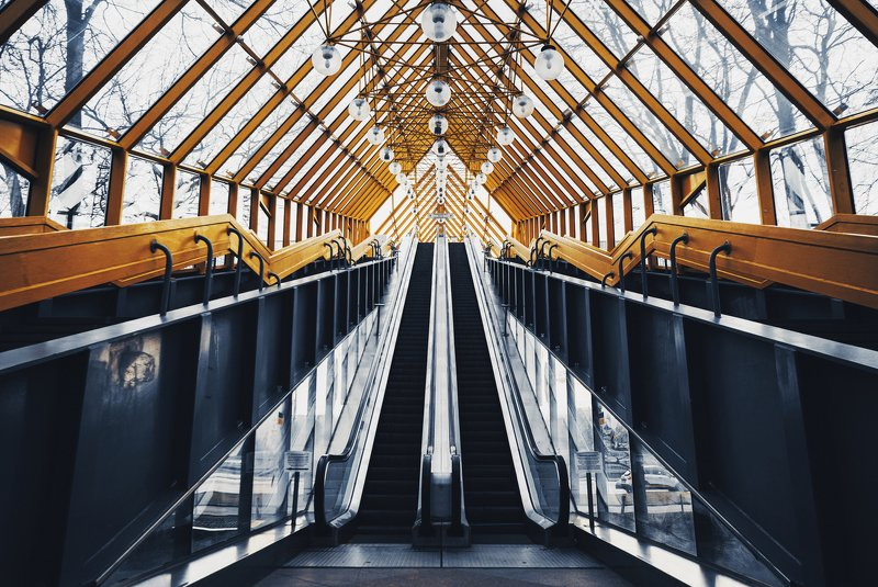 urban, geometry, architecture, yellow, escalator, bridge, city, modern, moscow, russia Городская геометрияphoto preview