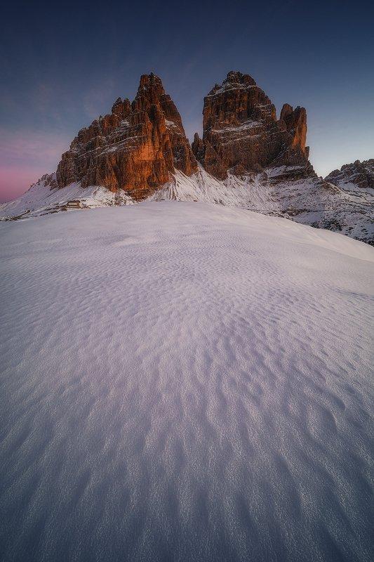 tre, cime, dolomiti, italy, landscape, winter, autumn, snow,  tre cime photo preview