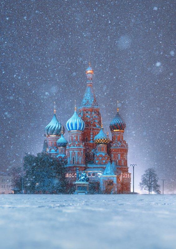 snow, moscow, winter, blue, собор василия блаженного, зима, снег, ночь, st. basil\'s cathedral, красная площадь photo preview