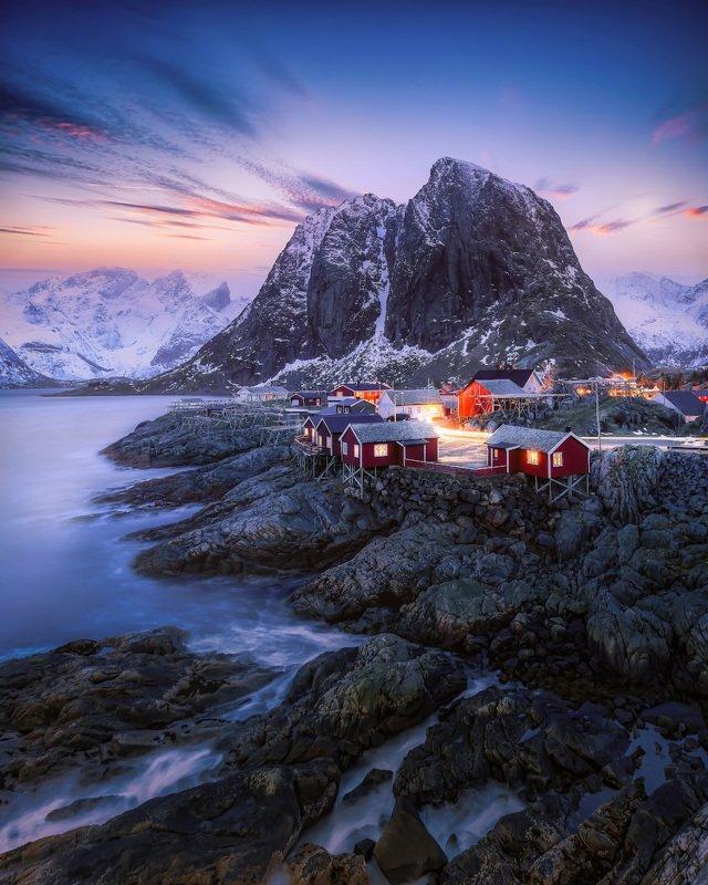 norway, lofoten, winter, sunrise, hamnoy, mountain, water, sky, color Февраль на Лофотенахphoto preview
