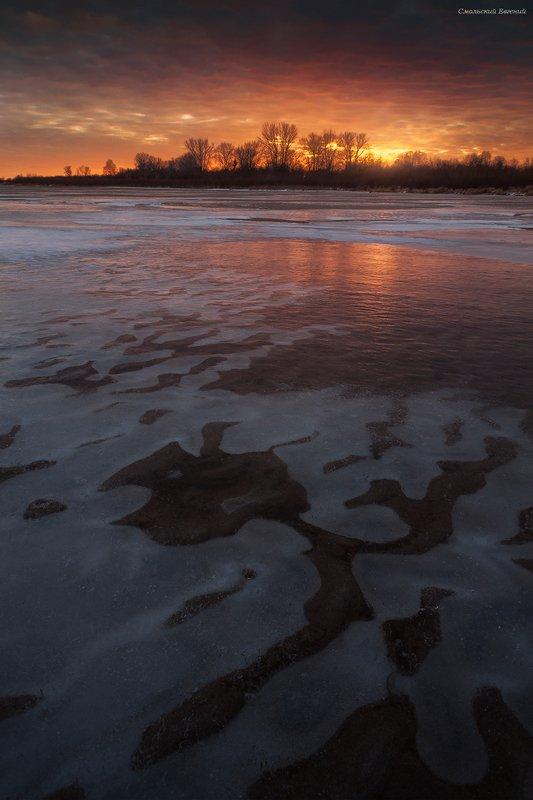 закат, осень, северная двина, отражения, лед, река В ледяном пламени закатаphoto preview