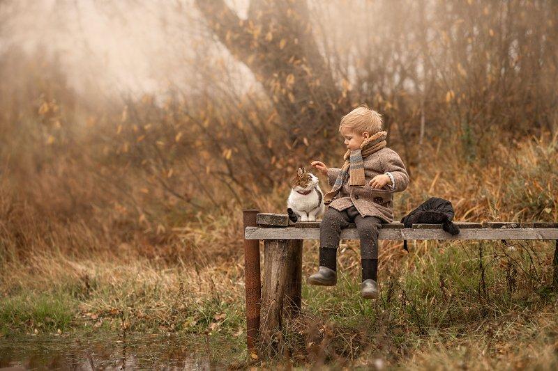 дети, деревенские дети, деревня, мальчики, мальчишки, дети и животные, кошка, кот, осень Другphoto preview