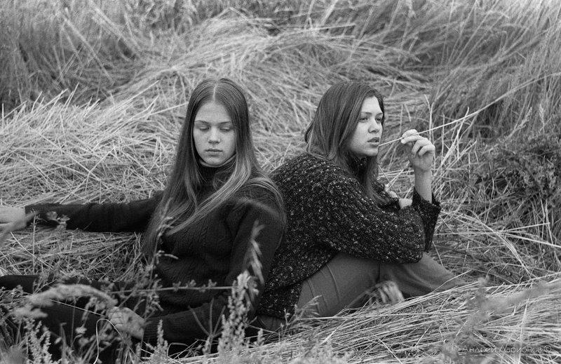 портрет, девушка, поле Сестры photo preview