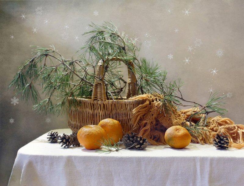 натюрморт, зима, елка, ветки, мандарины, корзина А завтра зима...photo preview