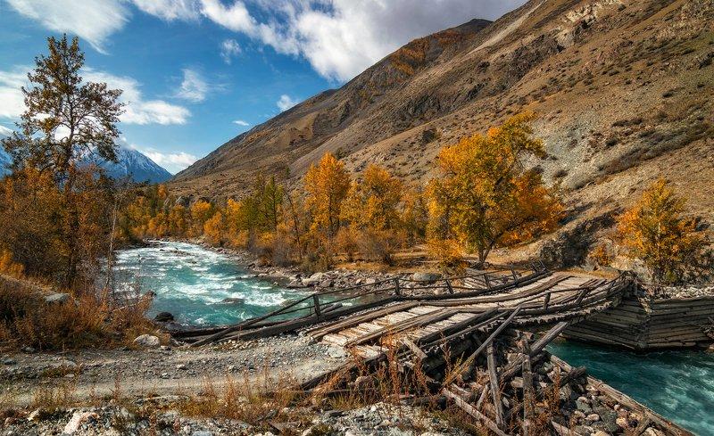 горный алтай,осень,река  карагем,мост Мост  через Карагем...photo preview
