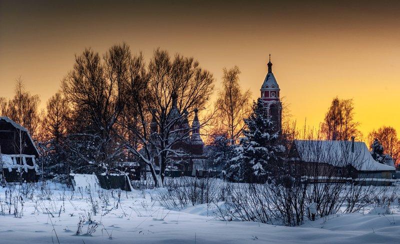 храм, холод, солнце, природа, православие, понорама, подмосковье, пейзаж, зима, закат, Садится солнца диск устало!photo preview