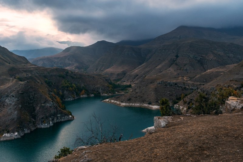 горы, озеро, гижгит, кбр, природа, осень, кавказ, пейзаж, вода, закат, Озеро Гижгитphoto preview