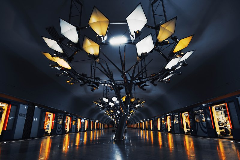 metro, subway, underground, reflection, urban, light, dark, Moscow, Russia Тропарёвоphoto preview