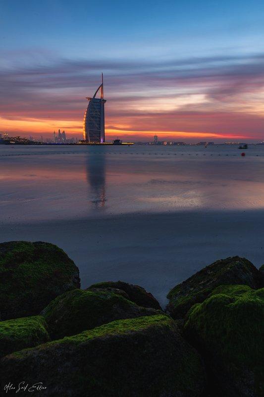 architecture, landscape, seascape, building, dubai, reflection, photography, colors, clouds, Sunset At Burj Al Arabphoto preview